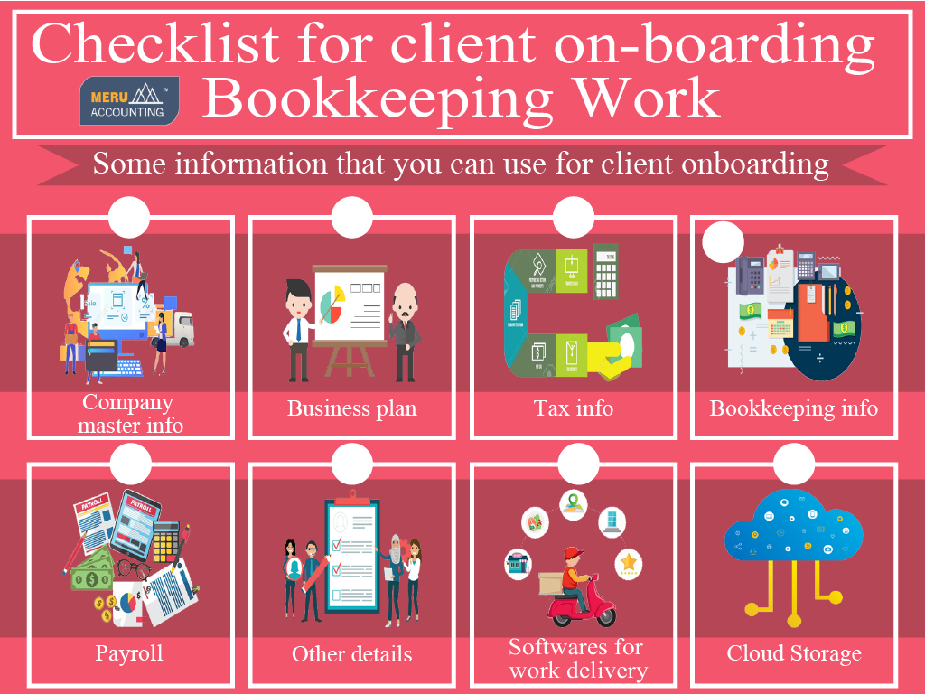 Checklist for client on-boarding Bookkeeping Work, Bookkeeping checklist