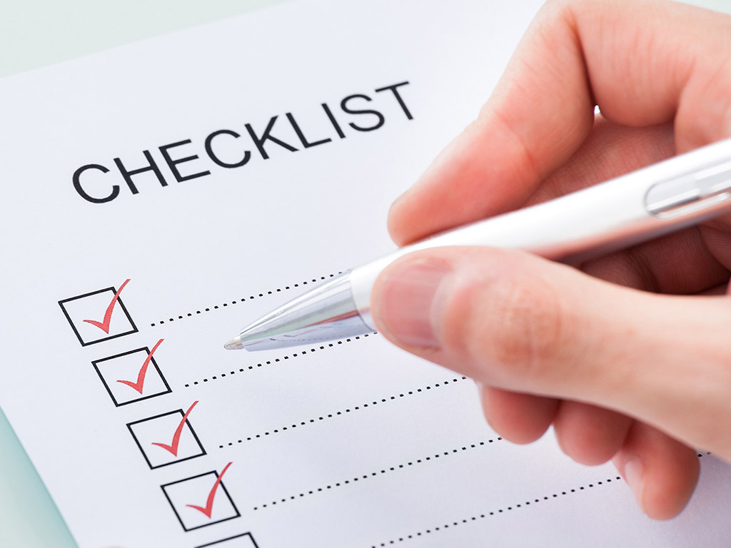 Checklist for preparation of 1040